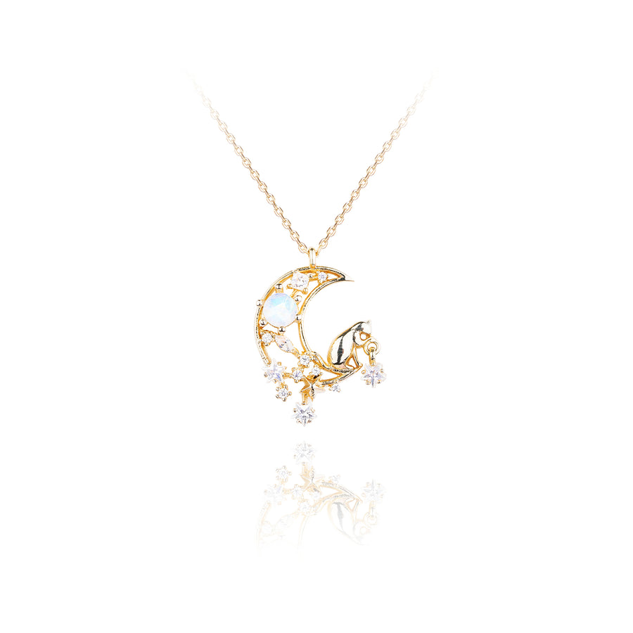 Cat Catch the Stars Necklace