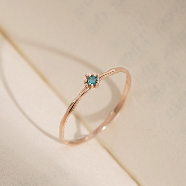 [14K Gold] Natural Prong Blue Diamond Leveno Ring