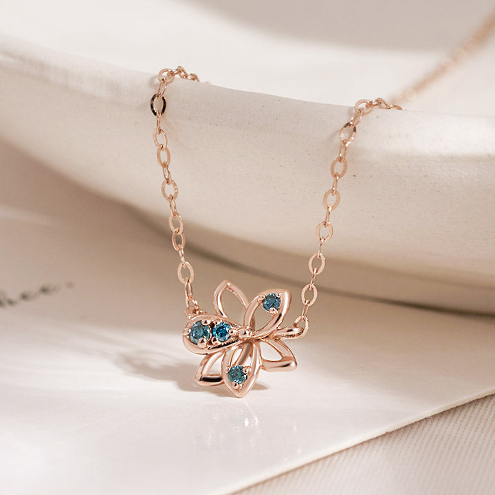 [14K Gold] Alea Blue Diamond Necklace