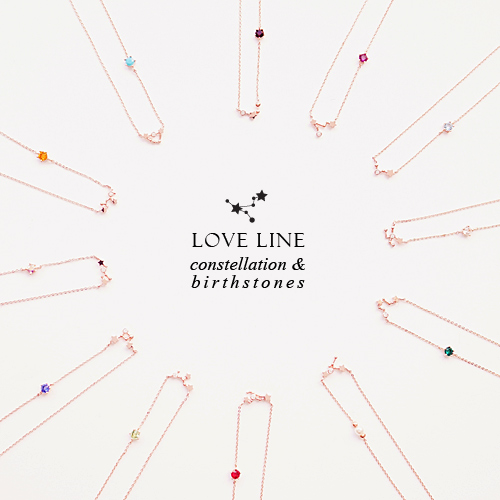 LOVE LINE Necklace (zodiac & birthstone) - Wingbling Global