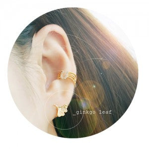 GINKGO LEAF Earring (silver pin) - Wingbling Global