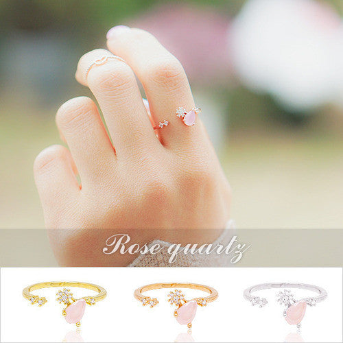WHISPER OF LOVE 2 Ring (rose quartz) - Wingbling Global