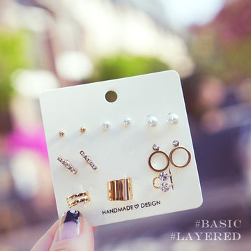 [8 Items in 1 Set] MONER Earring & Ear Cuff - Wingbling Global