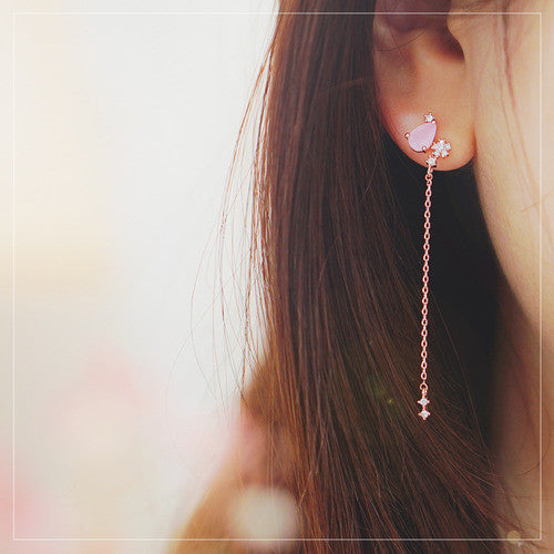 WHISPER OF LOVE 2 Earring (rose quartz, silver pin) - Wingbling Global