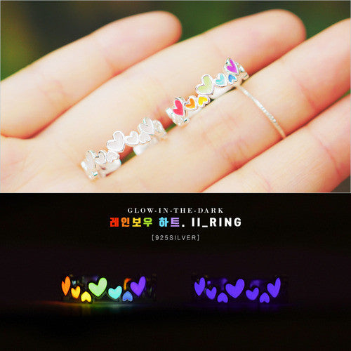 LOA RAINBOW HEART 2 Ring (glow in the dark)