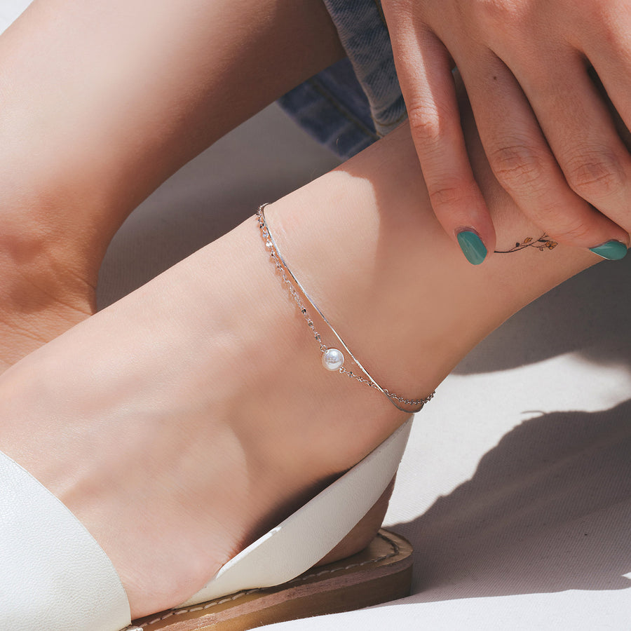 GLORIA Anklet Set (925 silver, pearl)