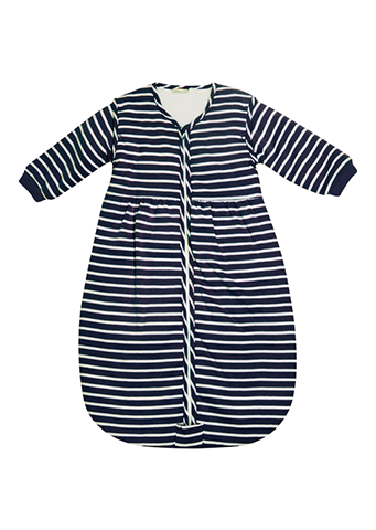 JoJo Maman Bebe</br>Baby Cosy Sleeping Bag | Navy & Ecru Stripe