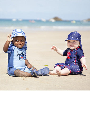 JoJo Maman Bebe</br>Blue Denim Quick Drying Flap Sun Protection Hat