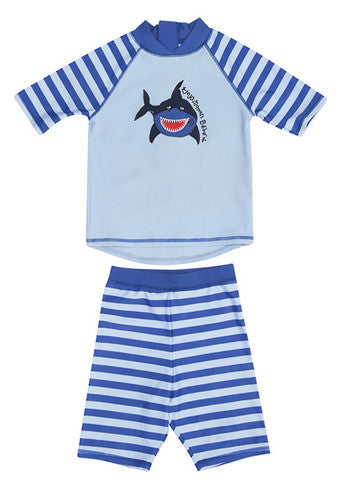 JoJo Maman Bebe</br>Blue Denim Stripe Quick Drying 2 Piece Sunsuit