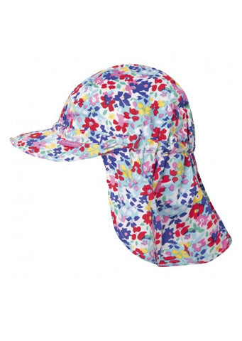 JoJo Maman Bebe</br>Girls Flap Hat - Bright Floral