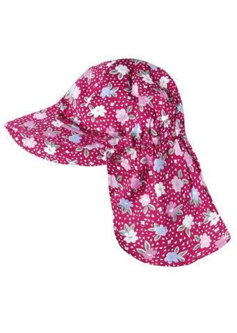 JoJo Maman Bebe</br>Girls Flap Hat - Strawberry Primrose