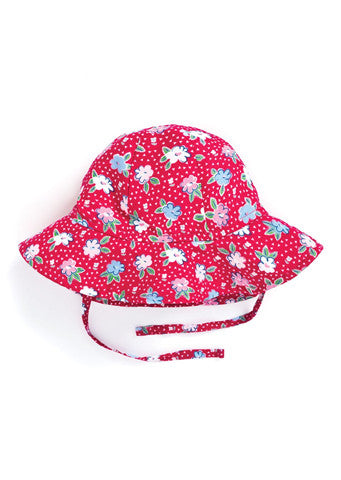 JoJo Maman Bebe</br>Girls Floppy Sunhat - Strawberry Primrose