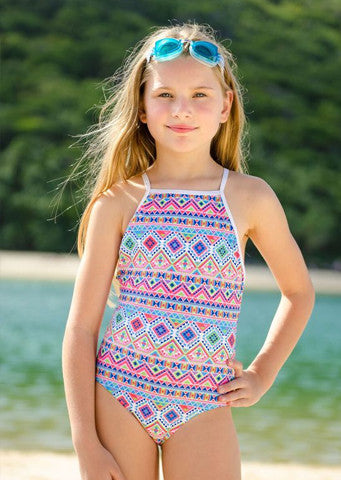 Sun Emporium</br>Girls One Piece Suit with Geometric Print (Size 4)