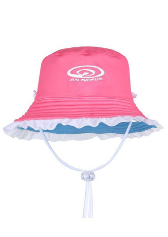 Sun Emporium</br>Girls Reversible Brim Hat With Frills - Coral