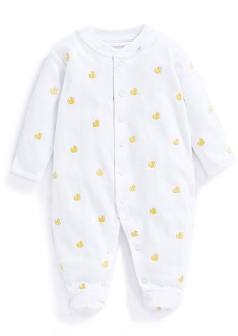 JoJo Maman Bebe </br>Baby Sleepsuit | Duck Embroidered