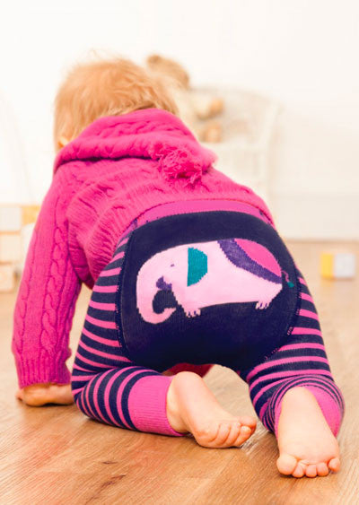 JoJo Maman Bebe </br>Leggings | Elephant Navy & Pink Striped