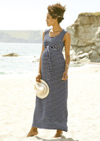 JoJo Maman Bebe</br>Maxi Dress Navy/White Stripe