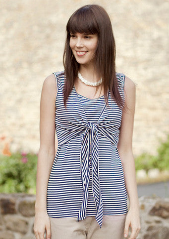 JoJo Maman Bebe</br>Navy Stripe Tie Front Breastfeeding Top