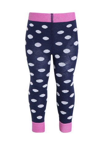 JoJo Maman Bebe </br>Leggings | Owl Navy & Pink Spotty