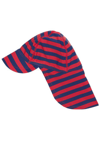 JoJo Maman Bebe</br>Red & Navy Quick Drying Flap Sun Protection Hat