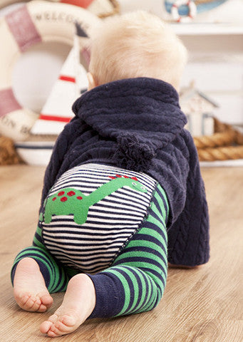 JoJo Maman Bebe </br>Leggings | Dinosaur Green & Navy Striped