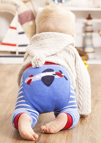 JoJo Maman Bebe </br>Leggings | Plane Blue & Red Striped