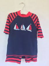 JoJo Maman Bebe</br>Red Navy Stripe Quick Drying 2 Piece Sunsuit