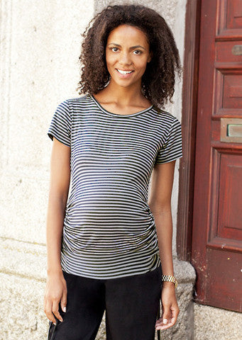 JoJo Maman Bebe</br>Black & Grey Stripe Ruched Maternity Top