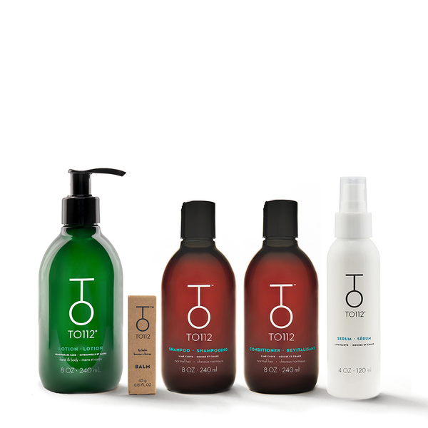 All your favourite TO112 essentials bundled together. Shampoo and Conditioner for Normal hair types, 100% all-natural lip balm, Paraben-free hair serum , and coconut oil body lotion.