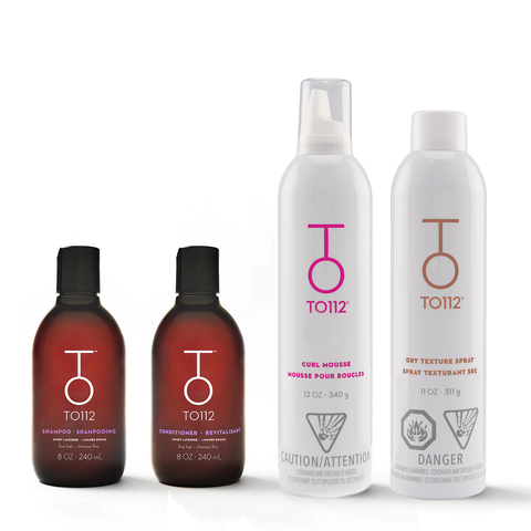 Volumizing hair care set for fine hair types. Includes shampoo for oily hair and volumizing conditioner. Alcohol-free curl mousse and dry texture spray.