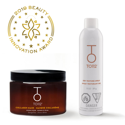 TO112 Innovation Award-winning products. Collagen hair mask and dry texture spray.