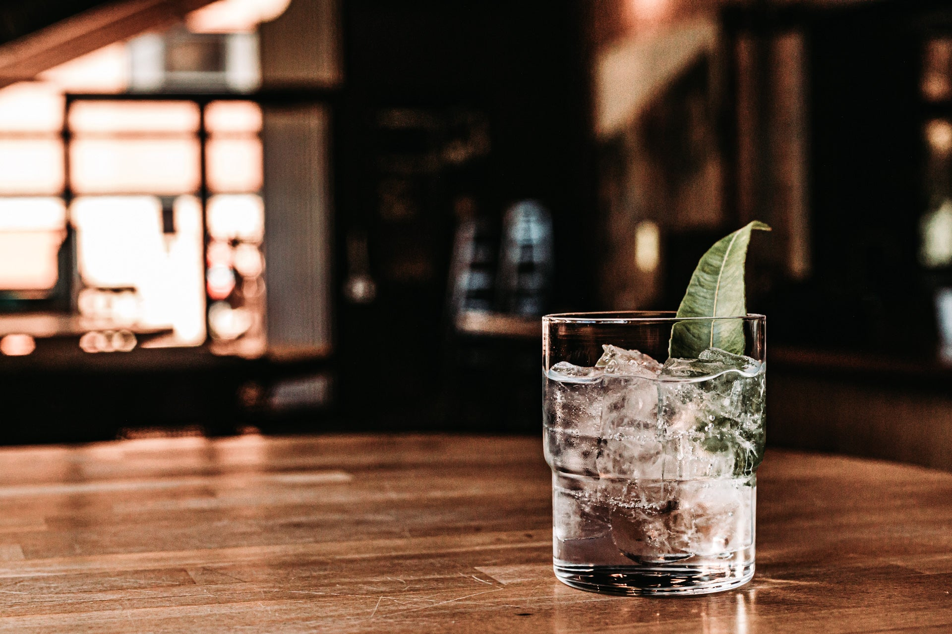 applewood signature gin and tonic with lemon myrtle leaf