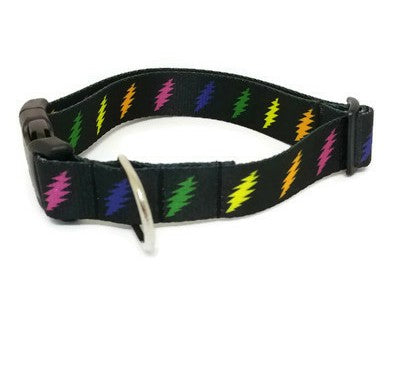 Multicolor 13 Point Bolt Grateful Dead Dog Collar (Matching Leash Available)