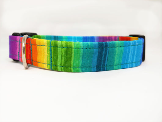 Rainbow Stripe Dog Collar (Matching Leash Available)