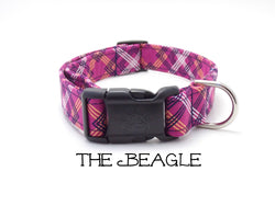 The Beagle - Plum Plaid Dog Collar (Matching Leash Available)