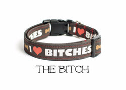 The Bitch - I Love Bitches Dog Collar (Matching Leash Available)