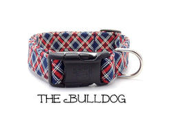 The Bulldog - Red and Navy Plaid Dog Collar (Matching Leash Available)