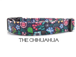 The Chihuahua - Blue Floral Dog Collar (Matching Leash Available)