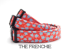 The Frenchie - Red Floral Dog Collar (Matching Leash Available)
