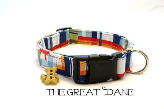 The Great Dane - Preppy Plaid Dog Collar (Matching Leash Available)