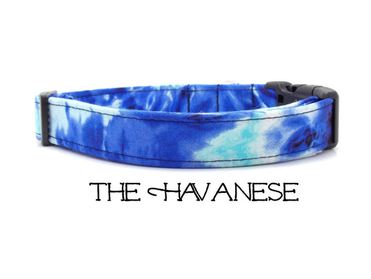 The Havanese - Blue & Aqua Tie Dye Dog Collar (Matching Leash Available)