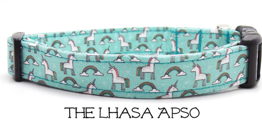 The Lahsa Apso - Unicorns and Rainbows Dog Collar (Matching Leash Available)