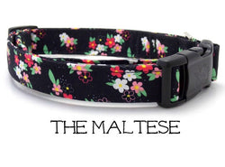 The Maltese - Black and Floral Dog Collar (Matching Leash Available)