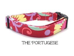 The Portugese - Red Floral Dog Collar (Matching Leash Available)