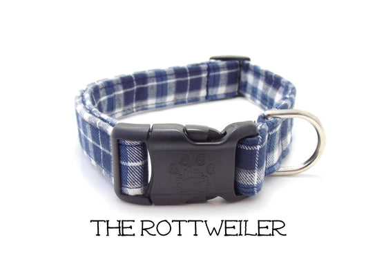 The Rottweiler - Blue Plaid Flannel Dog Collar  (Matching Leash Available)