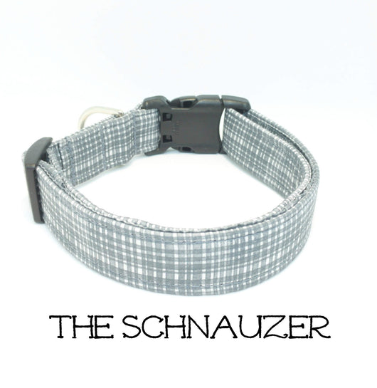 The Schnauzer - Gray Plaid Dog Collar (Matching Leash Available)