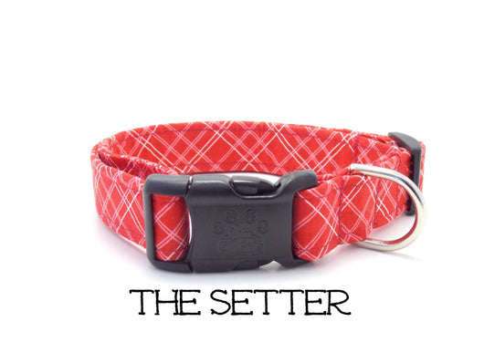 The Setter - Red Calico Plaid Dog Collar  (Matching Leash Available)