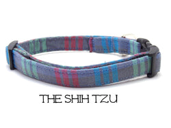 The Shih Tzu - Gray Striped Dog Collar ( Matching Leash Available)
