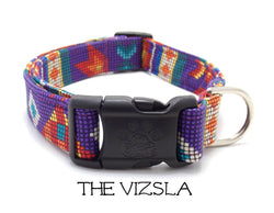 The Vizsla - Purple Aztec Dog Collar (Matching Leash)
