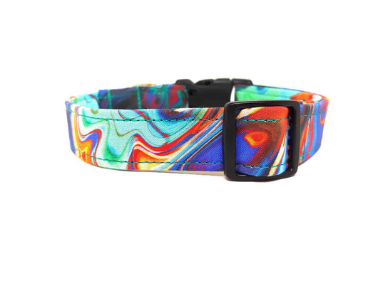 Colorful Teal, Red, Blue, Yellow, Marble Dog Collar (Matching Leash Available)